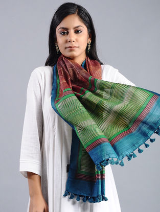 Green-Red Block-printed Tussar Silk Stole