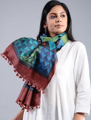 Blue-Red Block-printed Tussar Silk Stole