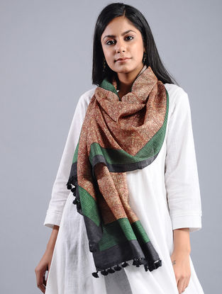 Red-Green Block-printed Tussar Silk Stole