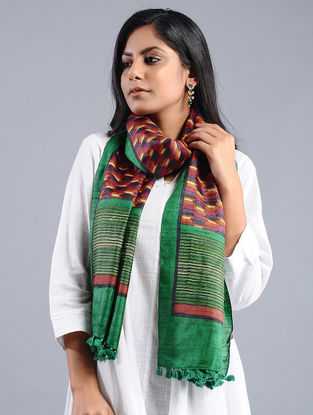 Pink-Green Block-printed Tussar Silk Stole with Tassels