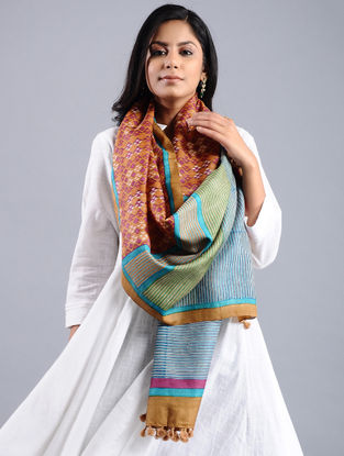 Pink-Blue Block-printed Tussar Silk Stole with Tassels