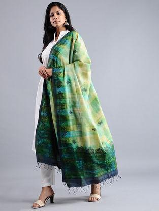 Ivory-Green Madhubani-painted Tussar Silk Dupatta