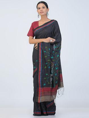Black-Red Jamdani Silk Saree