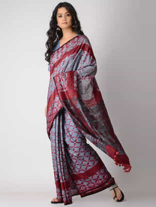 Blue-Red Shibori Silk Saree