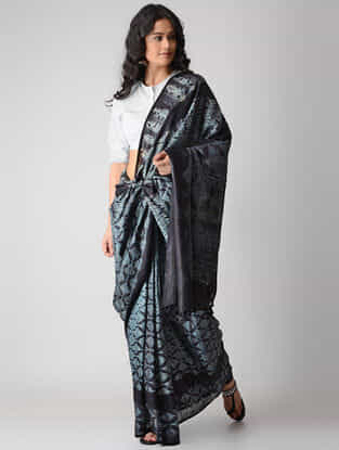 Black-Ivory Shibori Silk Saree with Tassels