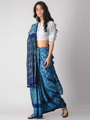 Blue Shibori Silk Saree with Tassels