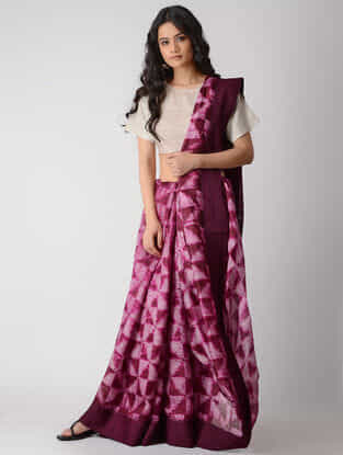 Ivory-Pink Shibori Silk Saree with Tassels