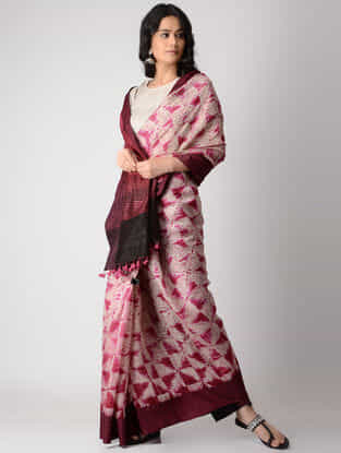 Ivory-Maroon Shibori Silk Saree with Tassels