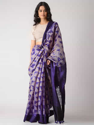 Purple-Beige Shibori Silk Saree with Tassels