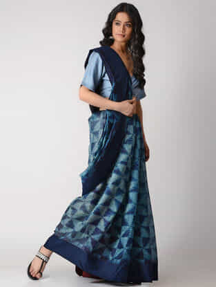 Blue Shibori Silk Saree