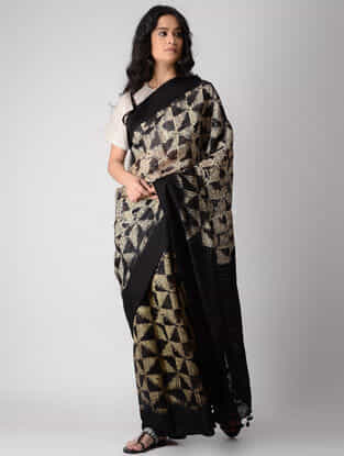 Cream-Black Shibori Silk Saree with Tassels