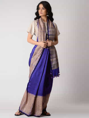 Blue-Beige Shibori Silk Saree with Tassels