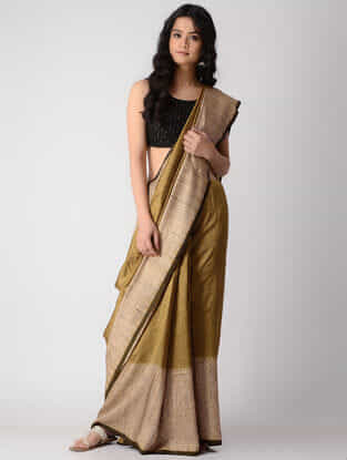 Ochre-Beige Shibori Silk Saree with Tassels