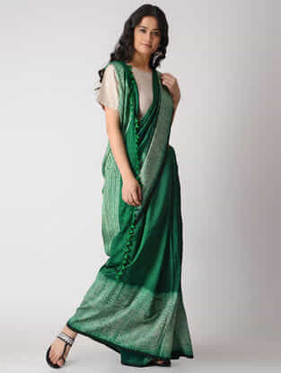 Green Shibori Silk Saree with Tassels