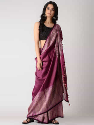 Pink-Beige Shibori Silk Saree with Tassels