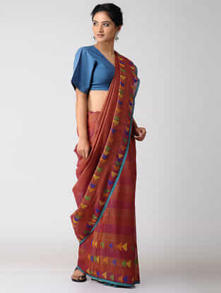 Red-Pink Khadi Silk Jamdani Saree