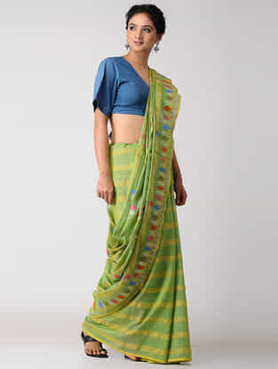 Green-Yellow Khadi Silk Jamdani Saree with Zari