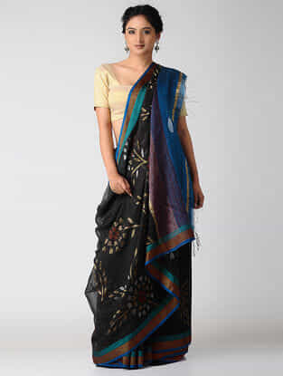 Black-Blue Khadi Silk Jamdani Saree with Zari