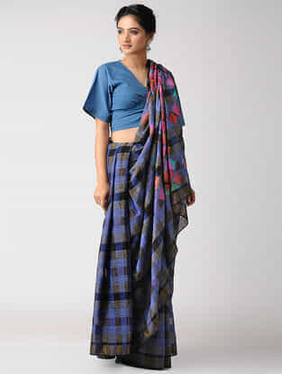 Blue-Black Khadi Jamdani Saree