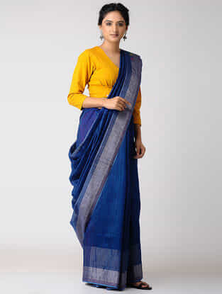 Blue-Pink Silk Jamdani Saree