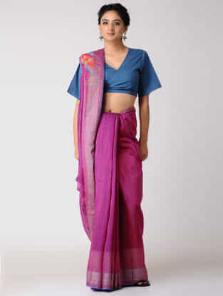 Pink-Orange Silk Jamdani Saree