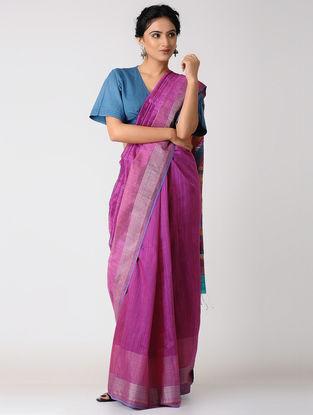 Pink-Orange Silk Jamdani Saree