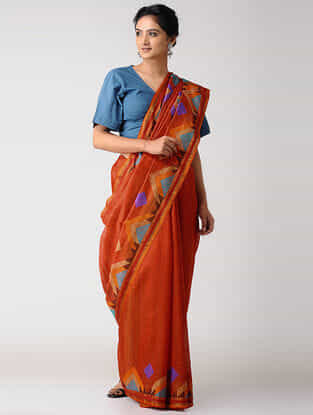 Orange-Blue Silk Jamdani Saree