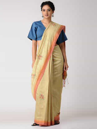 Beige-Orange Silk Jamdani Saree