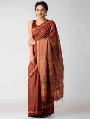 Red-Yellow Silk Jamdani Saree with Zari