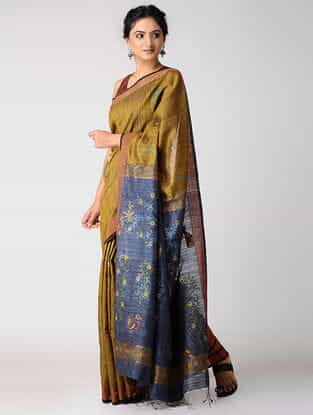Yellow-Blue Silk Jamdani Saree