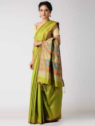 Green-Beige Silk Jamdani Saree