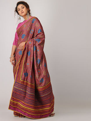 Purple-Blue Block-printed Kantha-embroidered Silk Saree