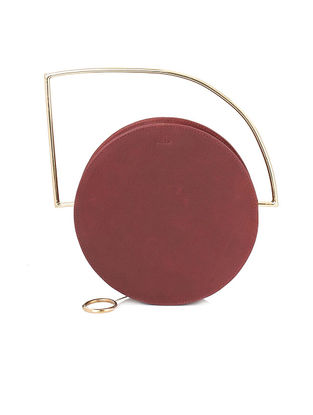 Maroon Leather Sling Bag