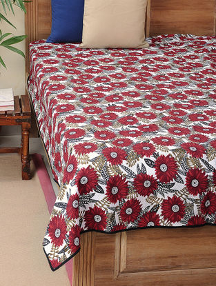 White-Red Kantha-embroidered Cotton Single Bedcover