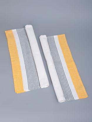 Lemon Cotton Block Stripe Kitchen Towel by Kara Weaves 29.5in x 19in