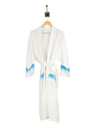 Blue-Ivory Cotton Bathrobe