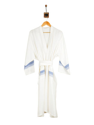 Turquoise-Ivory Cotton Bathrobe