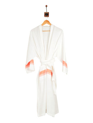 Puce-Ivory Cotton Bathrobe