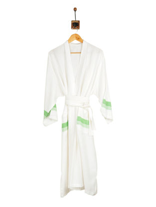 Pistachio-Ivory Cotton Bathrobe