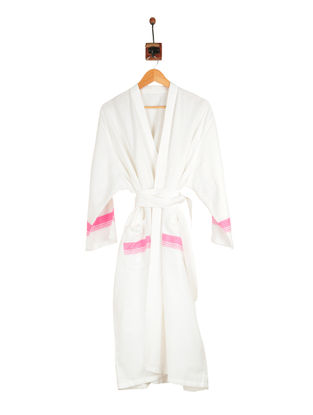 Peach-Ivory Cotton Bathrobe