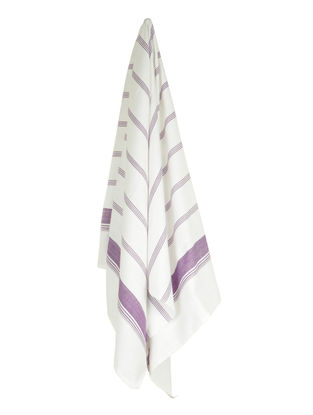 Ivory-Purple Candy Stripe Cotton Towel