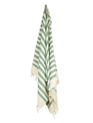 Ivory-Green Stripe Cotton Towel