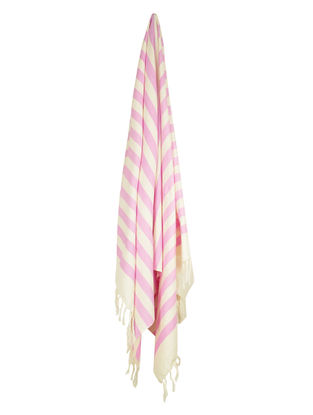 Ivory-Rose Stripe Cotton Towel
