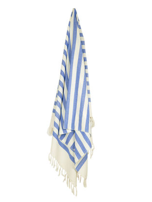 Ivory-Blue Stripe Cotton Towel