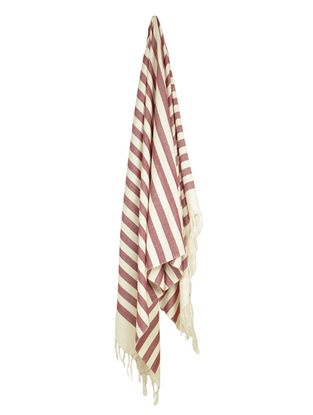 Ivory-Bordeaux Stripe Cotton Towel