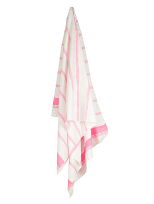 Ivory-Pink Candy Stripe Cotton Towel