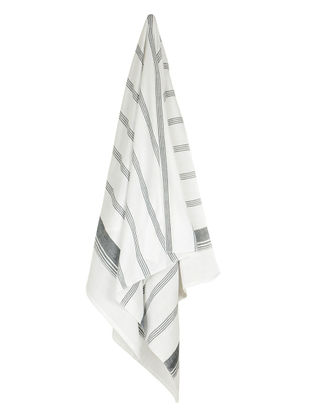 Ivory-Black Candy Stripe Cotton Towel