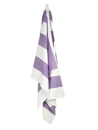 Ivory-Purple Bold Stripe Cotton Towel