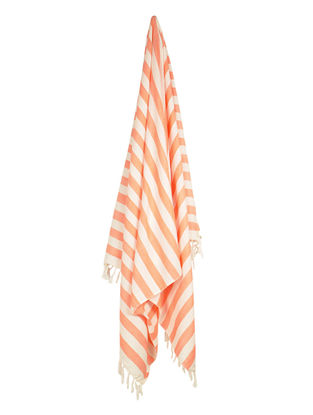 Ivory-Tangerine Stripe Cotton Towel