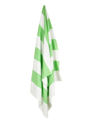Ivory-Green Bold Stripe Cotton Towel